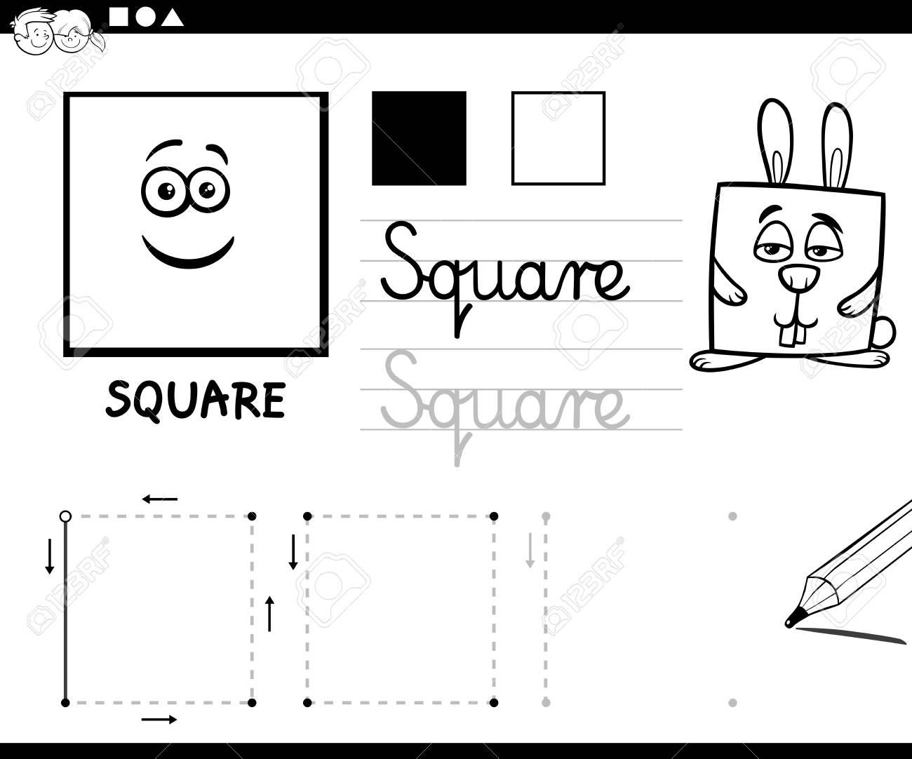 Ilustración De Dibujos Animados Educativo Blanco Y Negro De Forma Geométrica Básica Cuadrado Para Niños Página Para Colorear