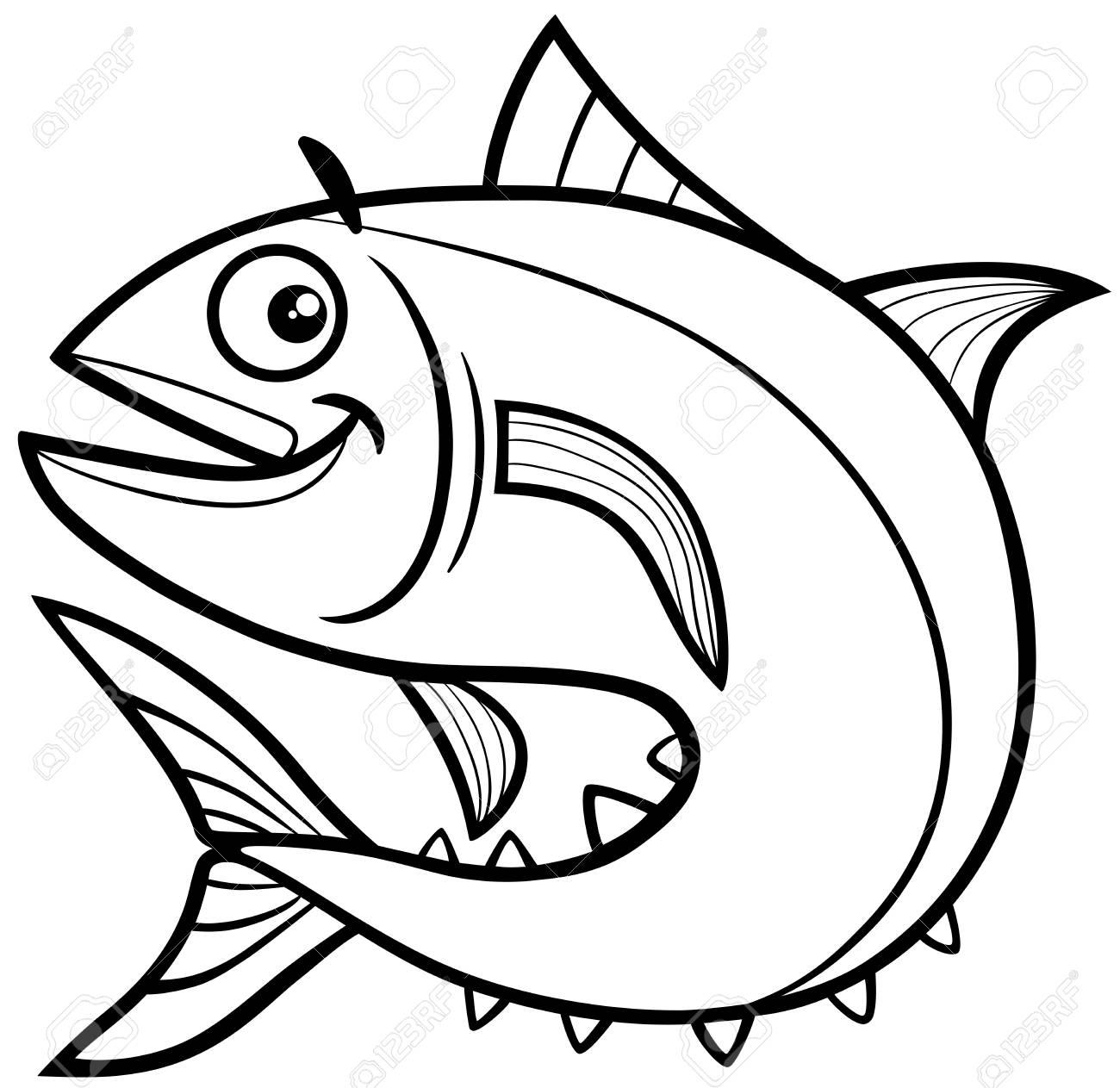 Ilustración De Dibujos Animados En Blanco Y Negro De Tuna Fish Sea ...