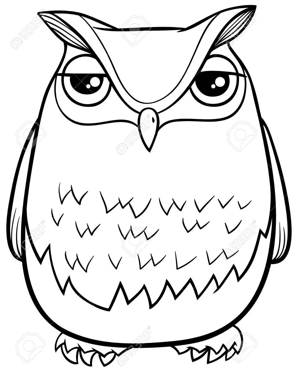 面白いフクロウ鳥動物キャラクターぬりえページの白黒漫画イラスト