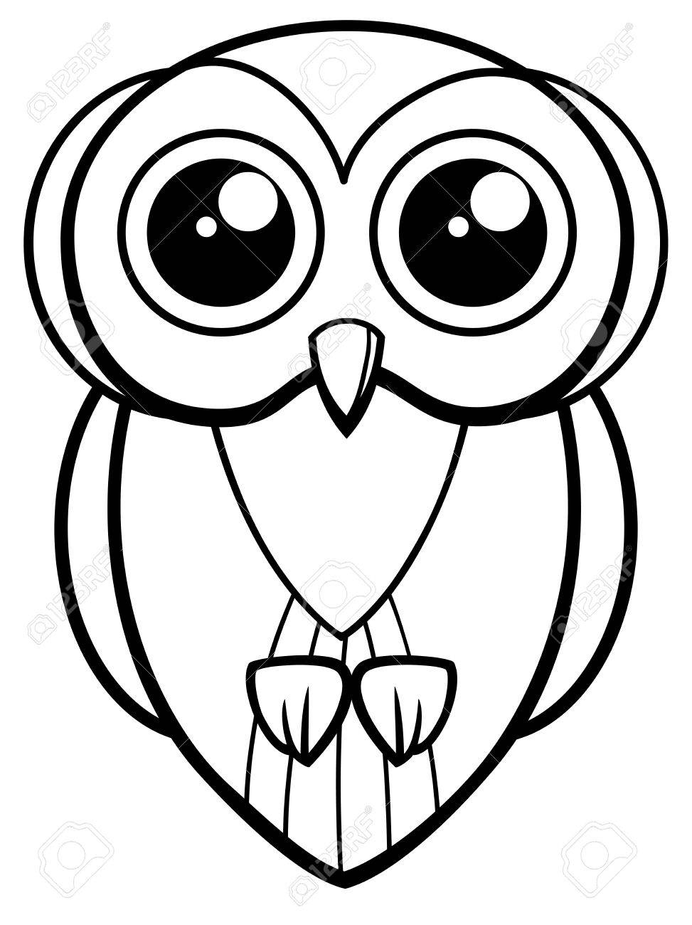 Black And White Cartoon Illustration Of Cute Owl Bird Animal Coloring Page  Stock Vector   72664783