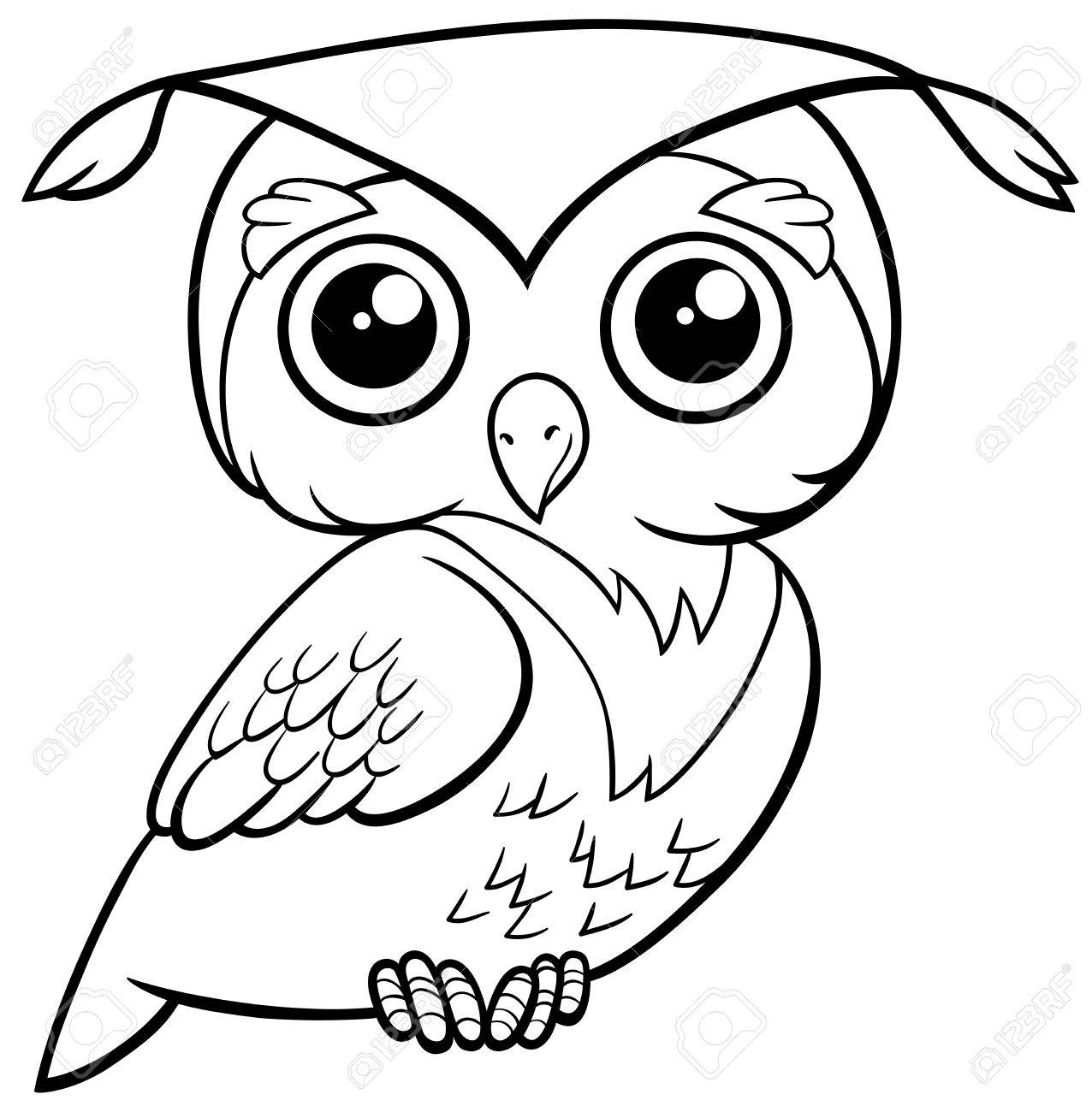 Black and white cartoon illustration of cute owl bird animal