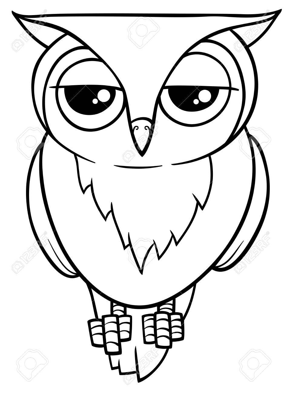 Black and white cartoon illustration of funny owl bird animal