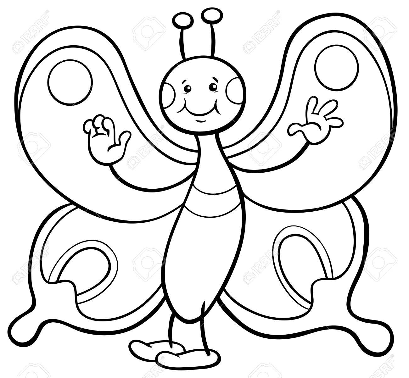 Ilustración De Dibujos Animados Blanco Y Negro De Mariposa Insecto Personaje De Caracteres Página Para Colorear