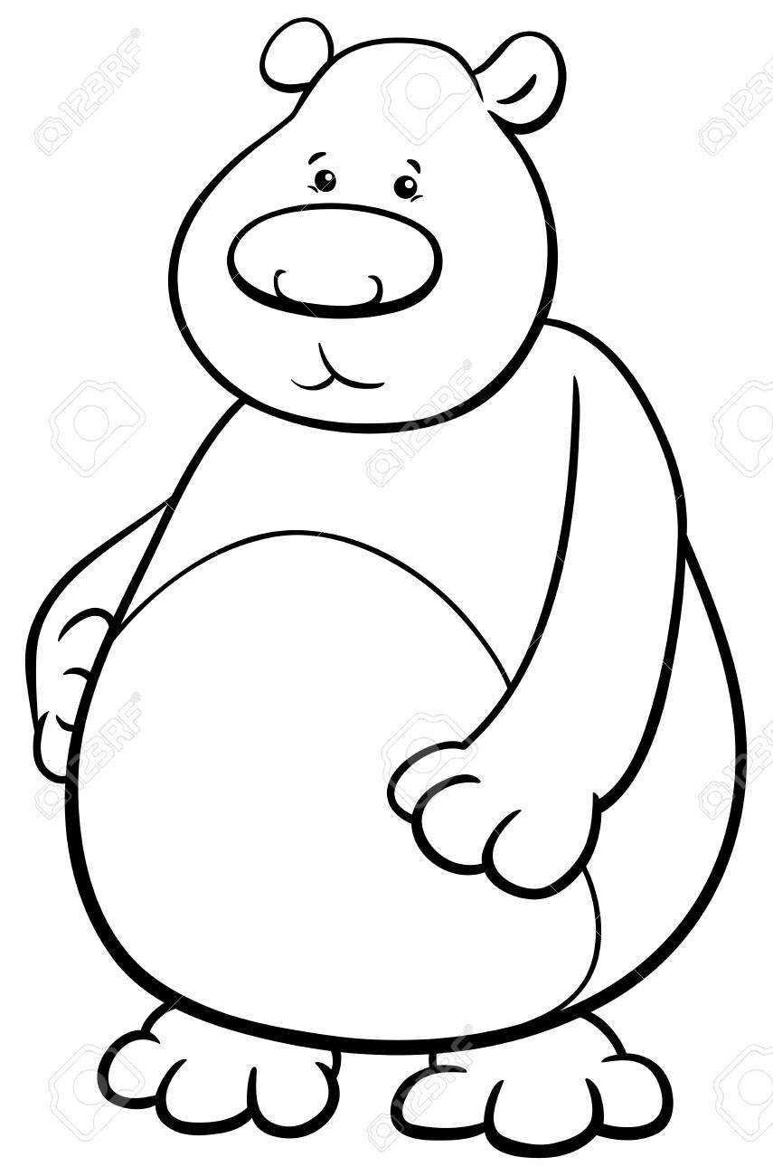 クマどうぶつキャラクターぬりえの黒と白の漫画イラストのイラスト素材
