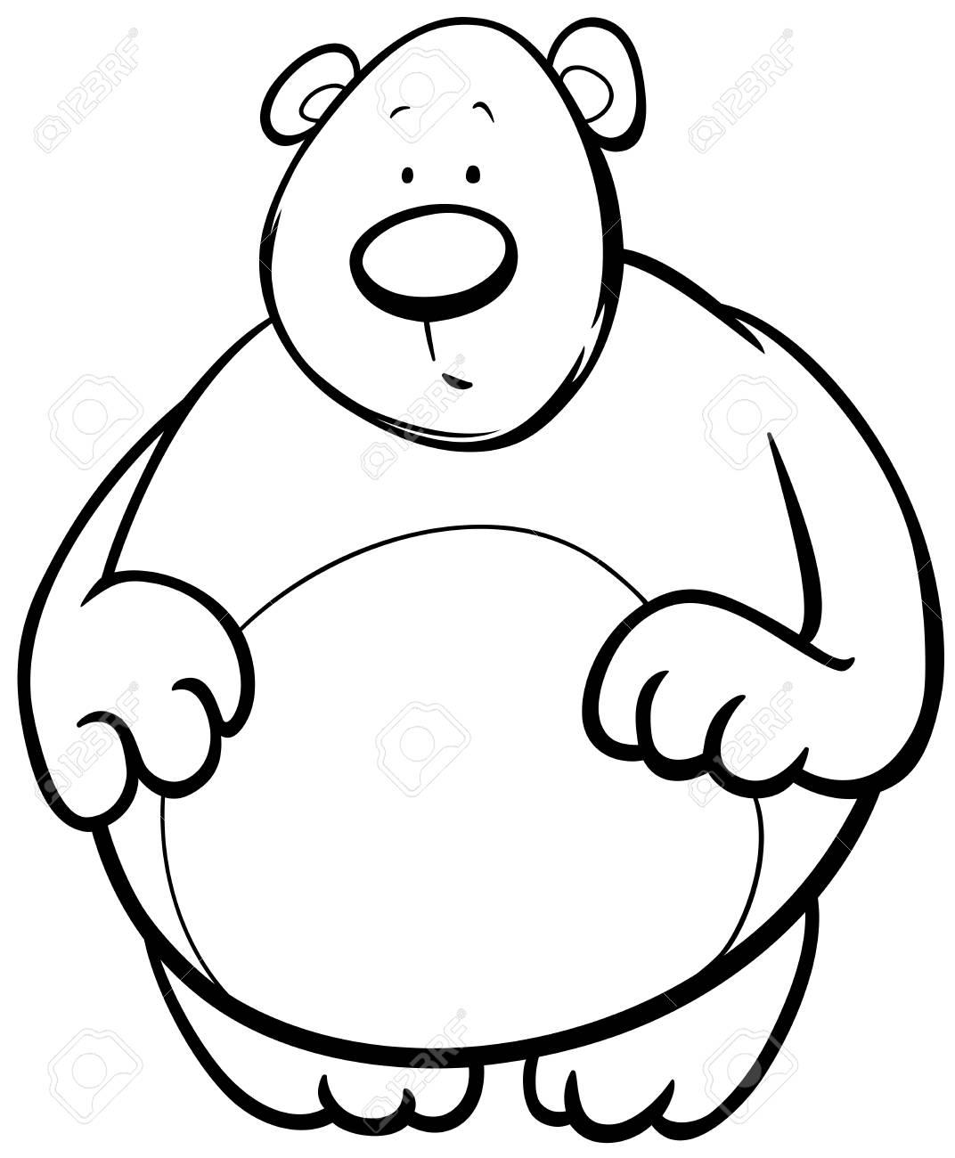 Ilustración De Dibujos Animados Blanco Y Negro De Funny Bear Animal Charactering Para Colorear
