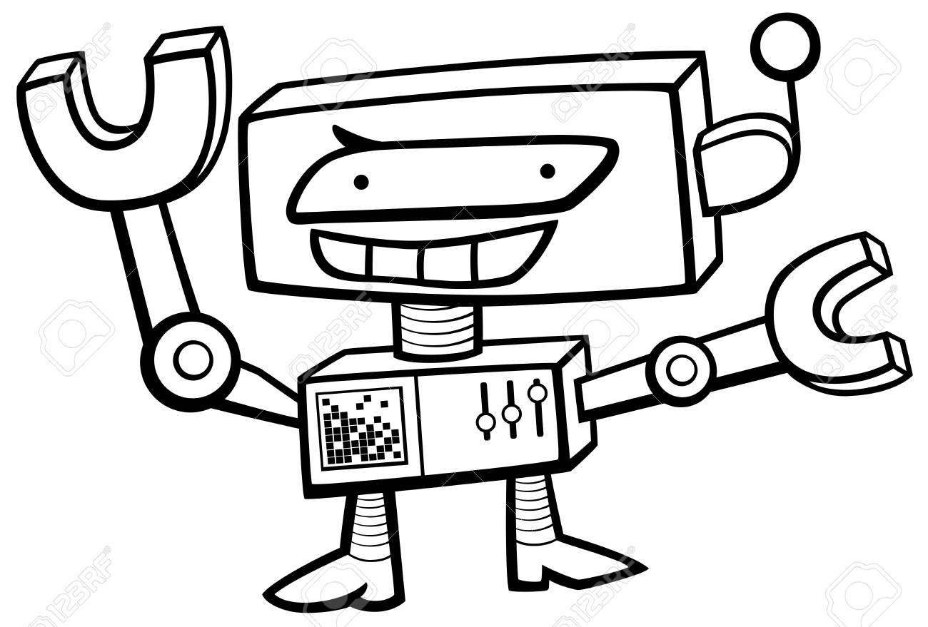 面白いロボット サイエンス フィクション キャラクターぬりえの黒と白の