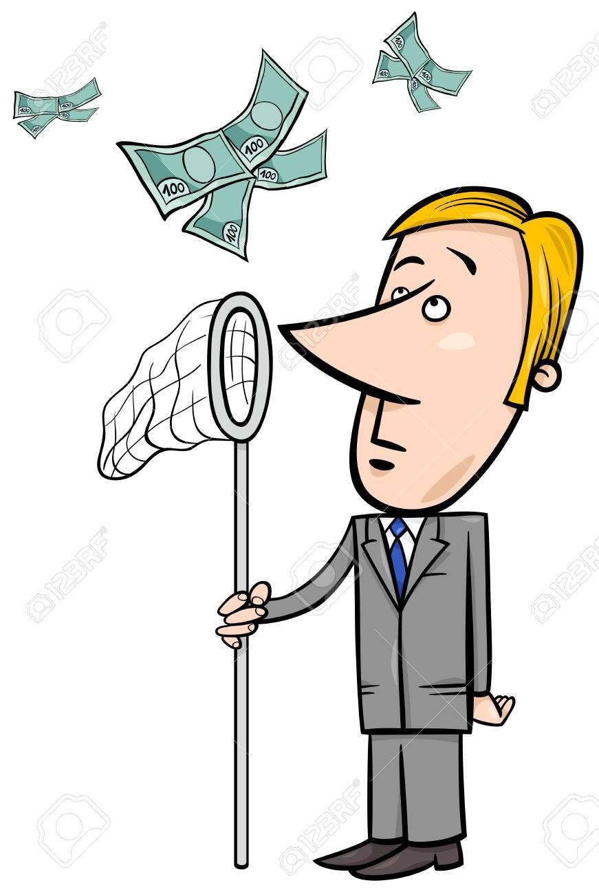 虫取り網でお金を引く実業家のコンセプト漫画イラストのイラスト素材