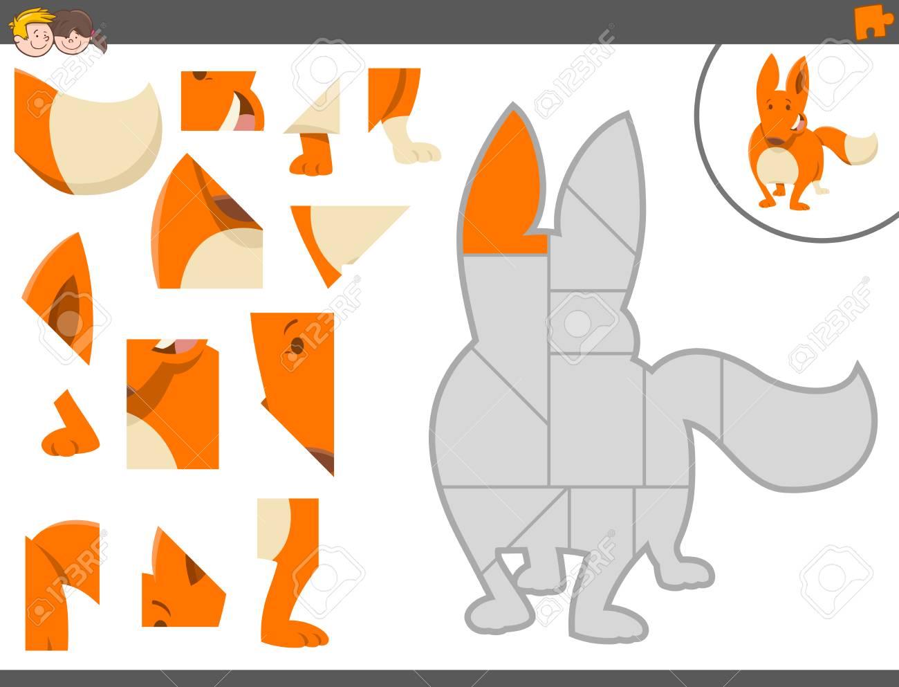 フォックス動物文字養護教育のジグソー パズル ゲームの漫画イラスト