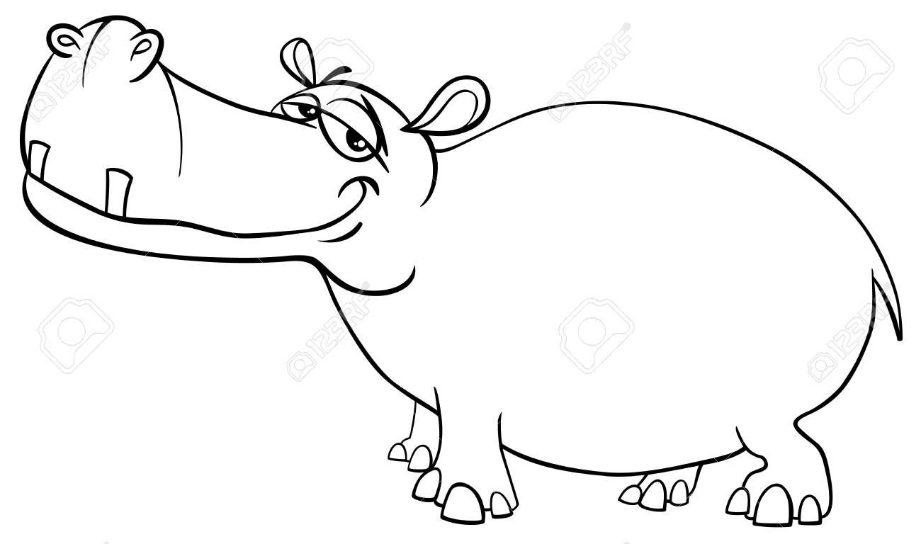 カバ野生動物キャラクターぬりえページの白黒漫画イラスト ロイヤリティ