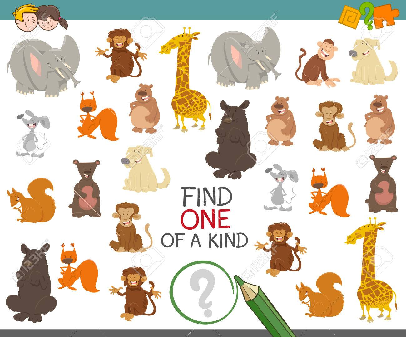 漫画イラストかわいい動物キャラクターの幼稚園児の親切な教育活動の