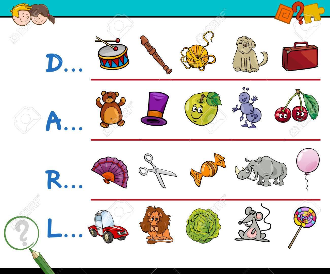 Ilustración De Dibujos Animados De Encontrar La Imagen Que Empiezan Con La Carta De Referencia De La Actividad Educativa Para Los Niños
