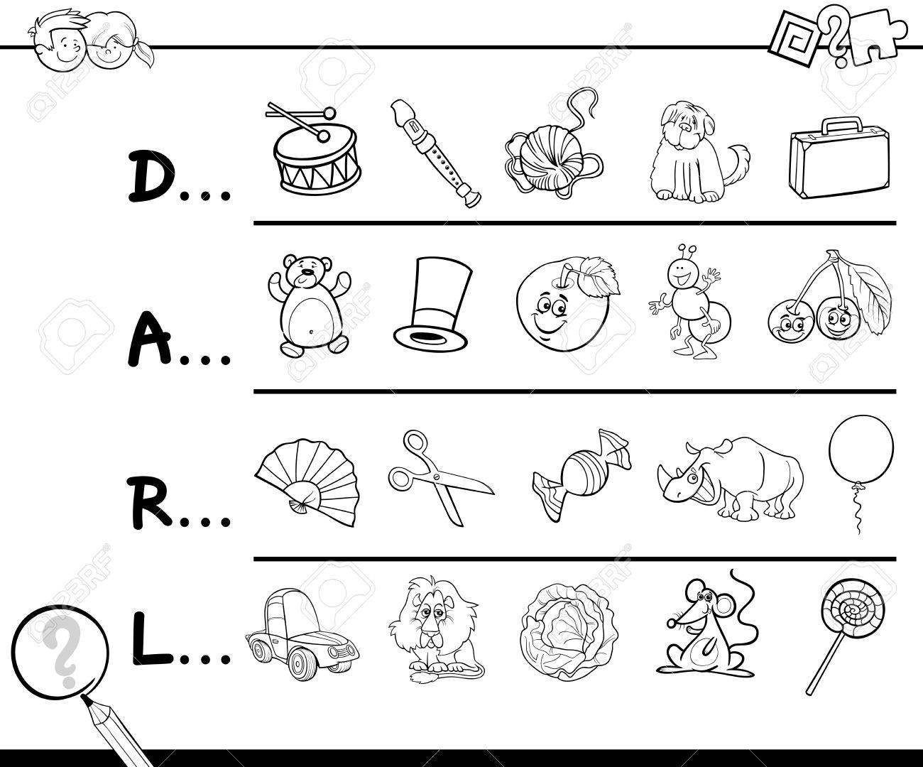 Ilustración De Dibujos Animados De Encontrar La Imagen Que Comienzan Con La Carta De Referencia De La Actividad Educativa Para Niños Para Colorear