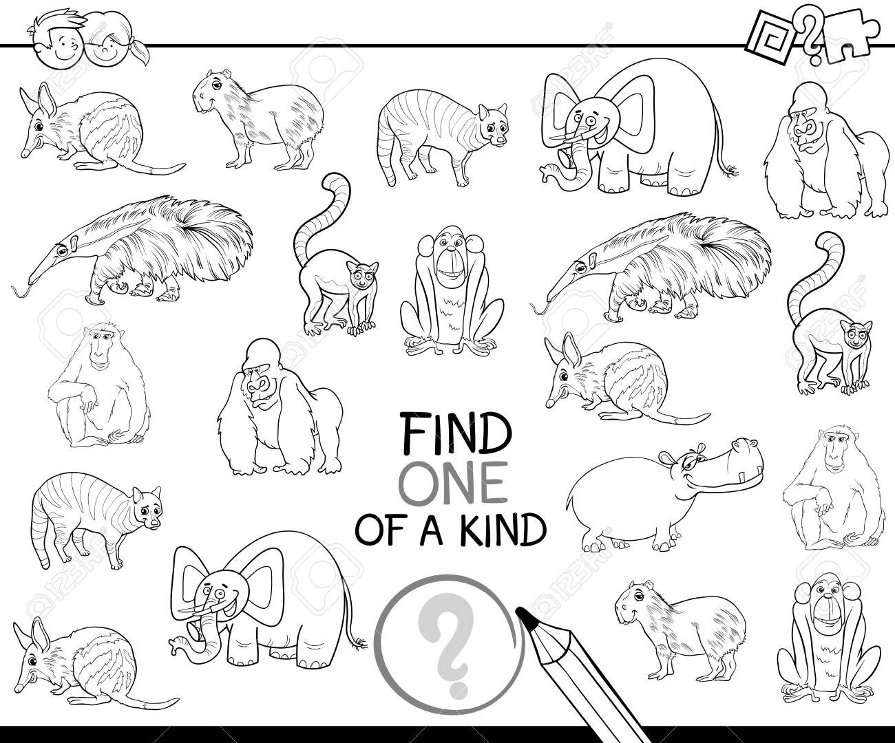 black and white cartoon illustration of find one of a kind educational activity game for children wi