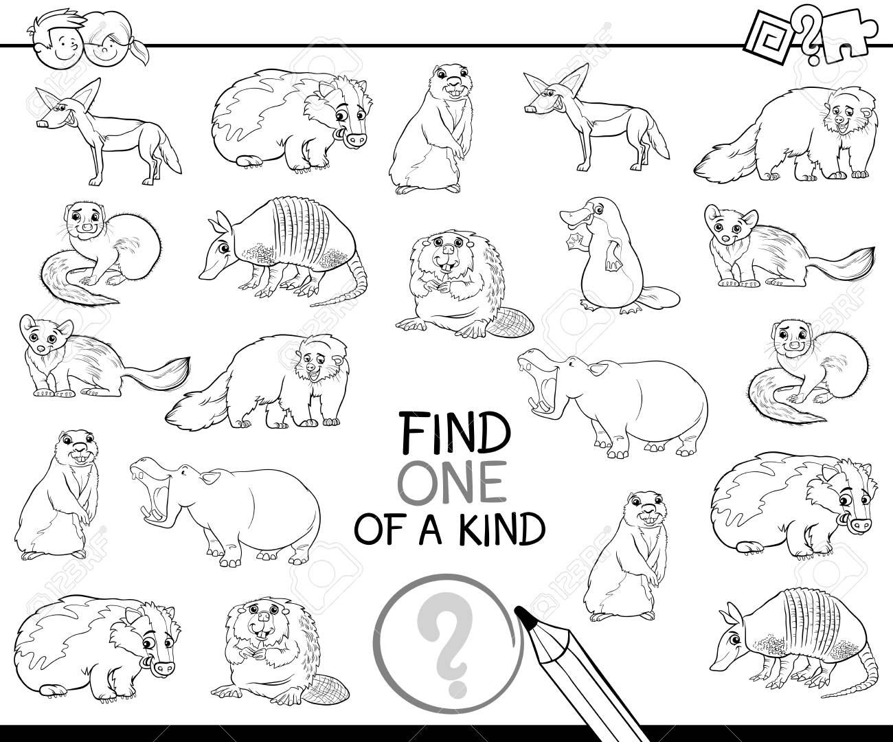Ilustración De Dibujos Animados En Blanco Y Negro De Encontrar Uno De Una Clase De Actividad Educativa Para Niños Con Personajes De Animales Salvajes