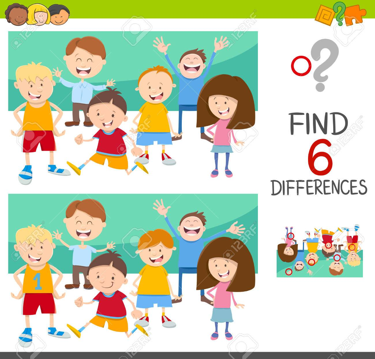 Cartoon Illustration Of Spot The Differences Educational Game Royalty Free Cliparts Vectors And Stock Illustration Image 77883576