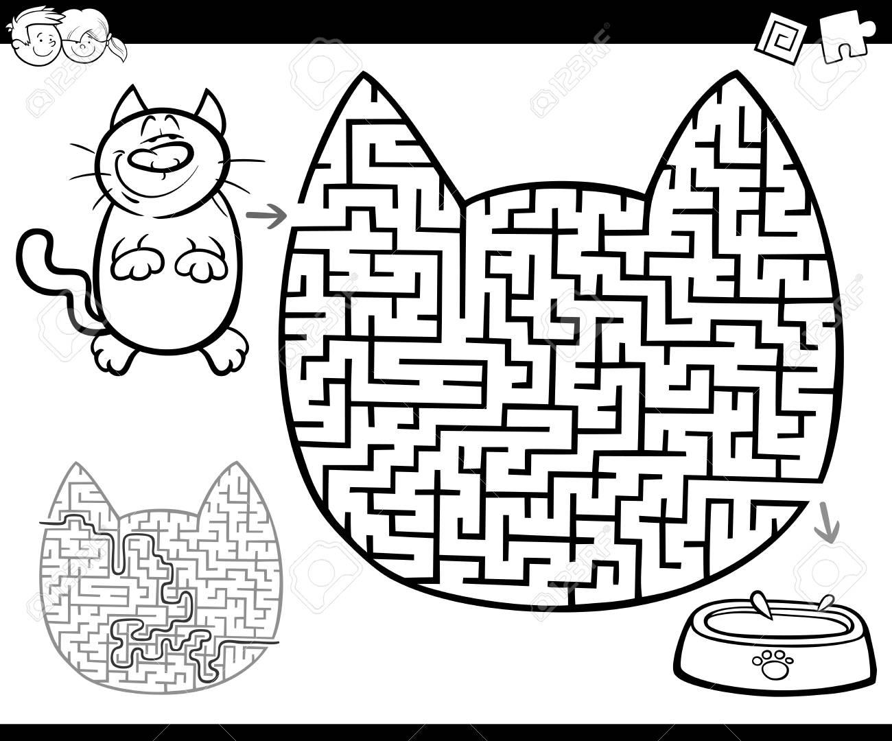 Ilustracion De Dibujos Animados De Laberinto Educativo O Juego De
