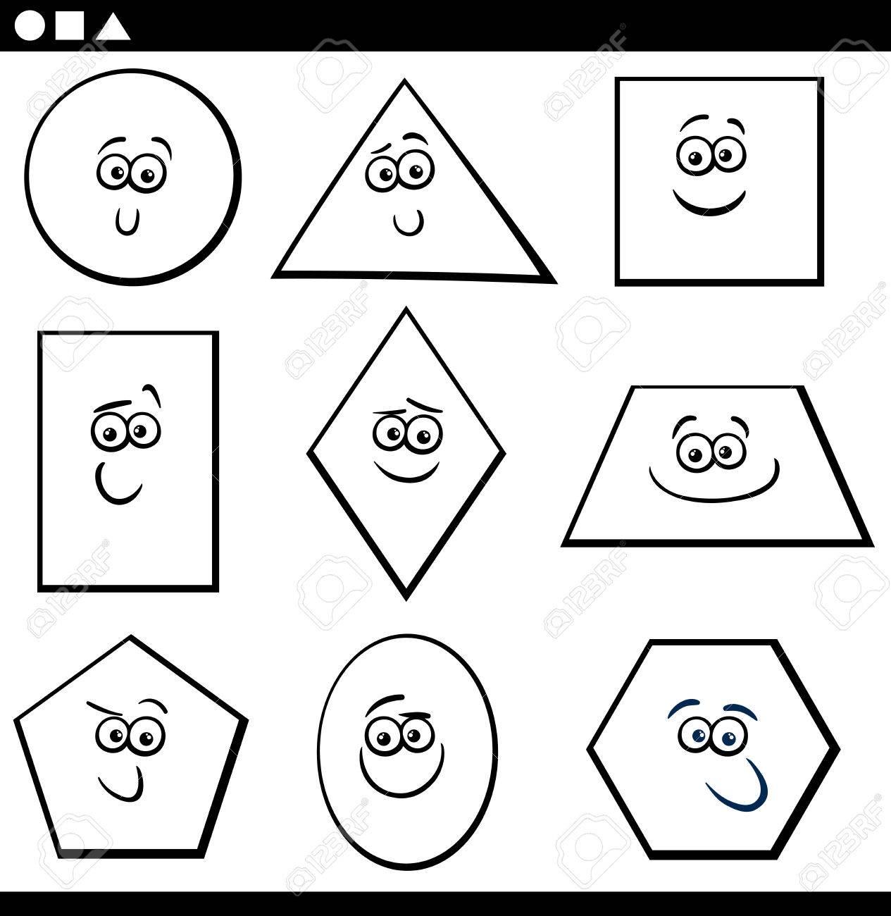 Ilustración De Dibujos Animados En Blanco Y Negro De Formas Geométricas Básicas Educativas Personajes Divertidos Para Niños Para Colorear La Página