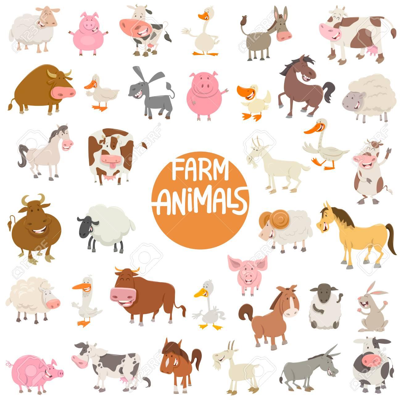 かわいいファーム動物のキャラクター大集合の漫画イラスト ロイヤリティ