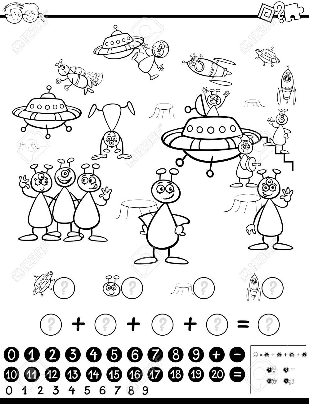 Ilustración De Dibujos Animados En Blanco Y Negro Del Juego De Actividades Matemáticas Educativas Para Niños Con Personajes Alienígenas Página