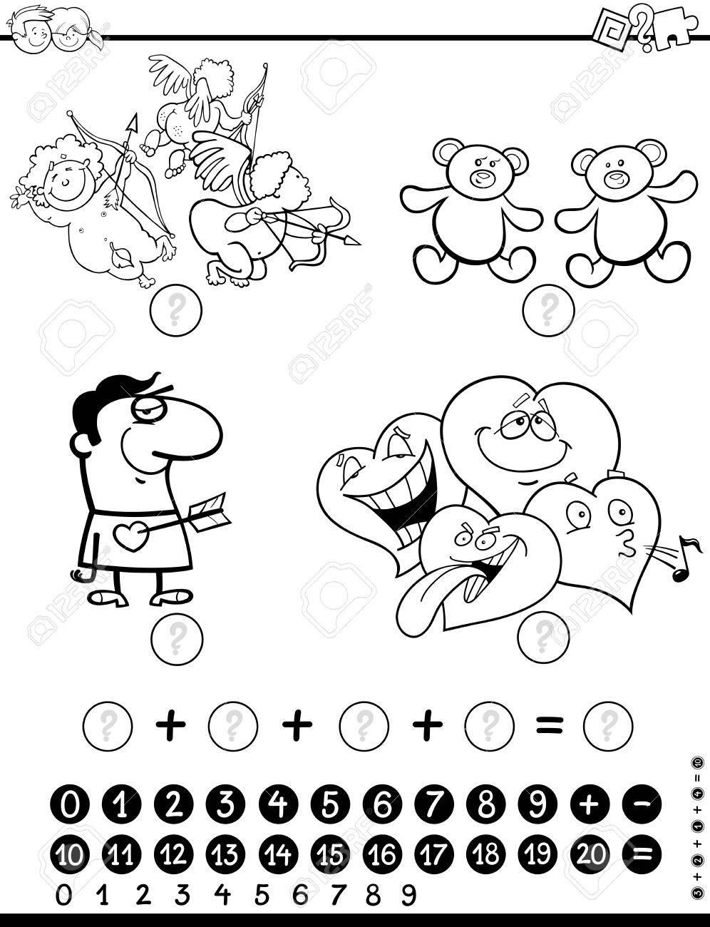 Ilustración De Dibujos Animados En Blanco Y Negro Del Juego De Matemáticas De La Actividad Educativa Para Los Niños Con El Personaje De San