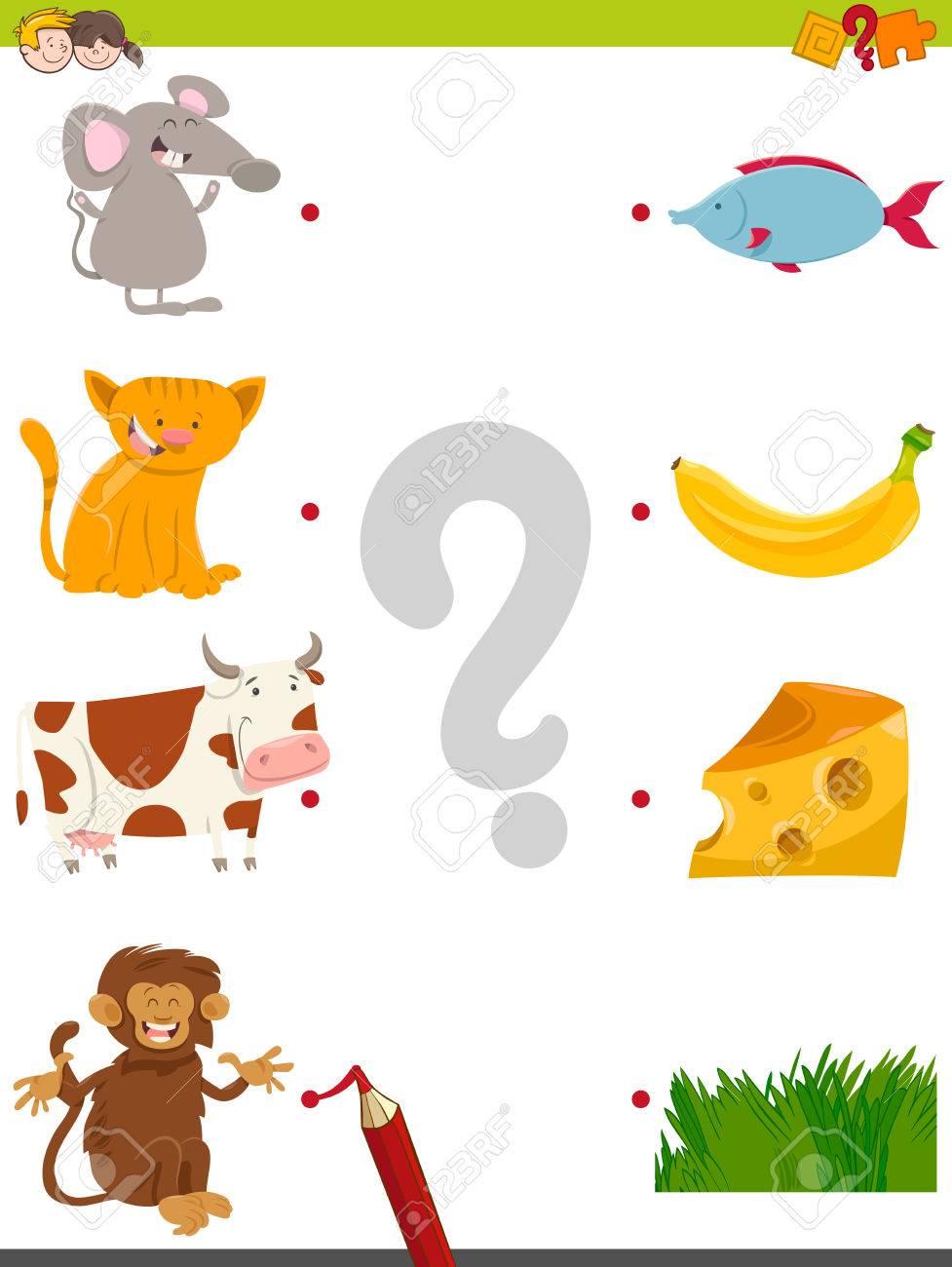 漫画イラストの教育写真マッチング活動子供のためゲーム動物文字と自分の