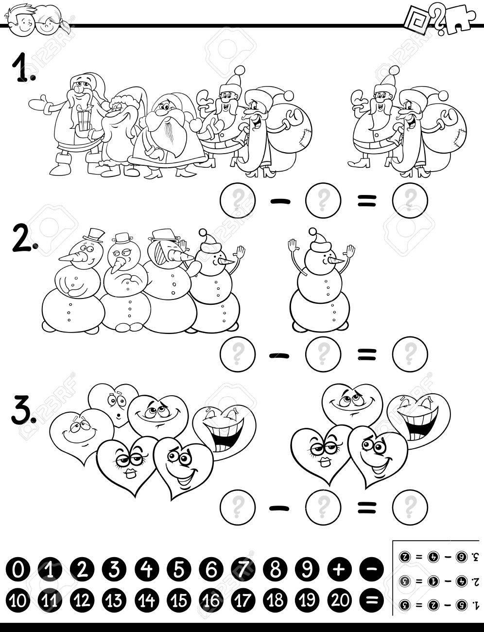 Schwarz-Weiß-Karikatur Illustration Der Pädagogischen Zählen Und ...