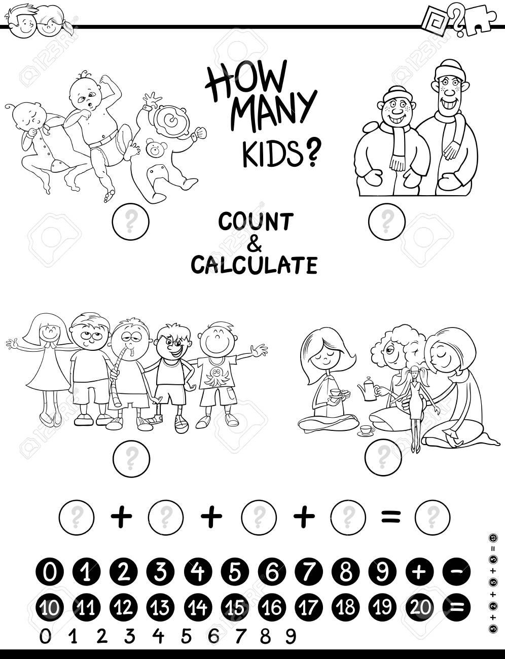 Ilustración De Dibujos Animados En Blanco Y Negro De Contar Y