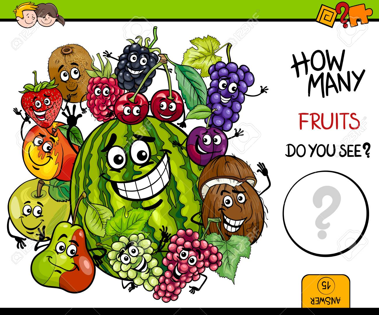 Cartoon Illustration of Educational Counting Activity Game for Children with Fruit Characters Group - 79341204