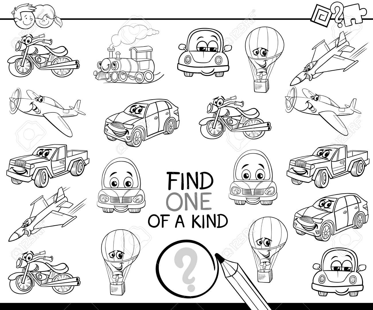 Ilustración De Dibujos Animados En Blanco Y Negro De Encontrar Uno De Un Tipo Juego De Actividad Educativa Para Niños Con Personajes De Fantasía