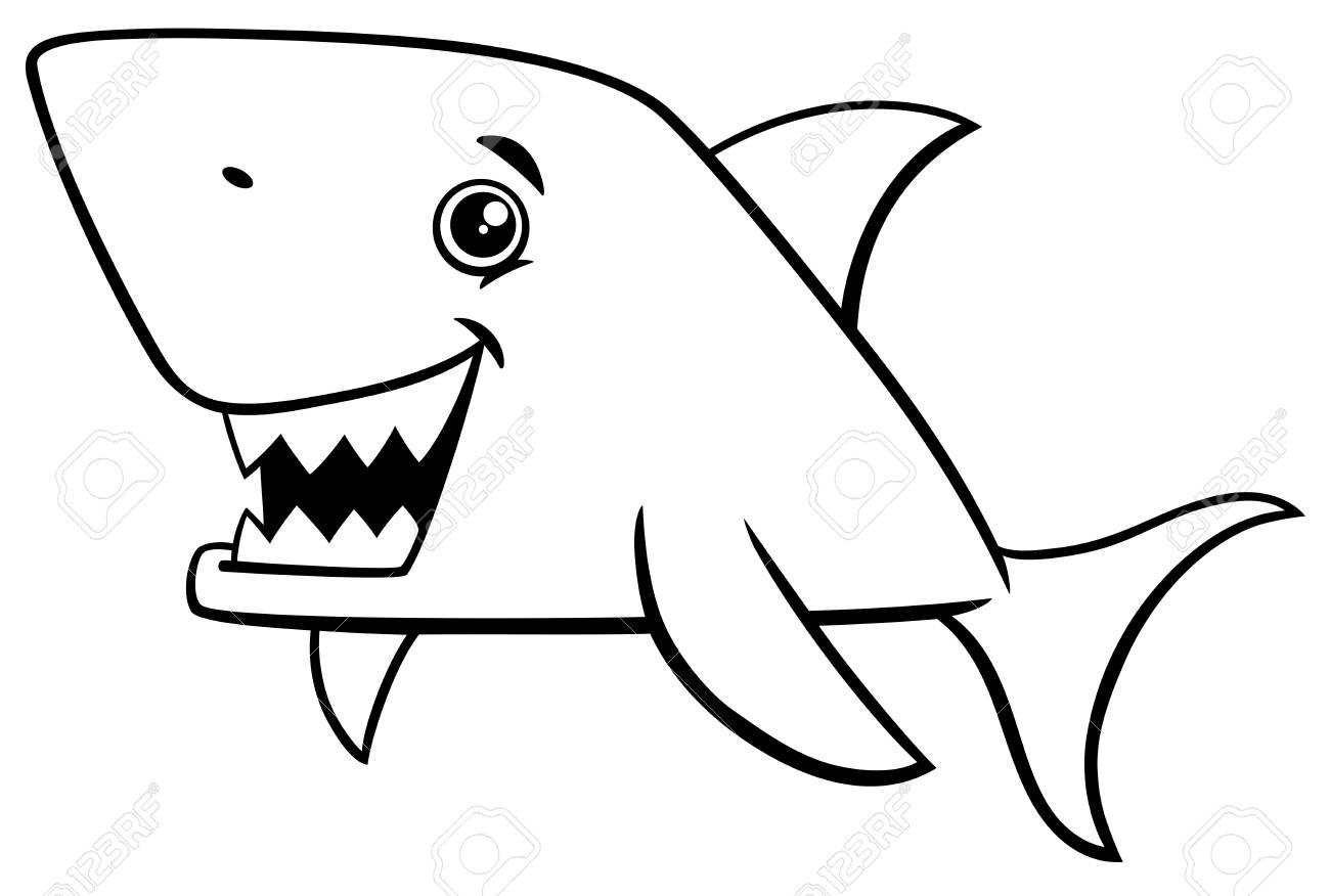 Ilustración De Dibujos Animados Blanco Y Negro De Tiburón Peces Vida