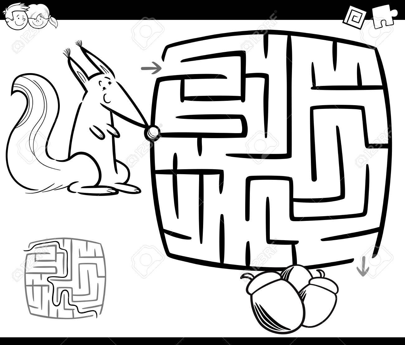 リスとどんぐりのページを着色子供教育迷路や迷宮ゲームの白黒漫画