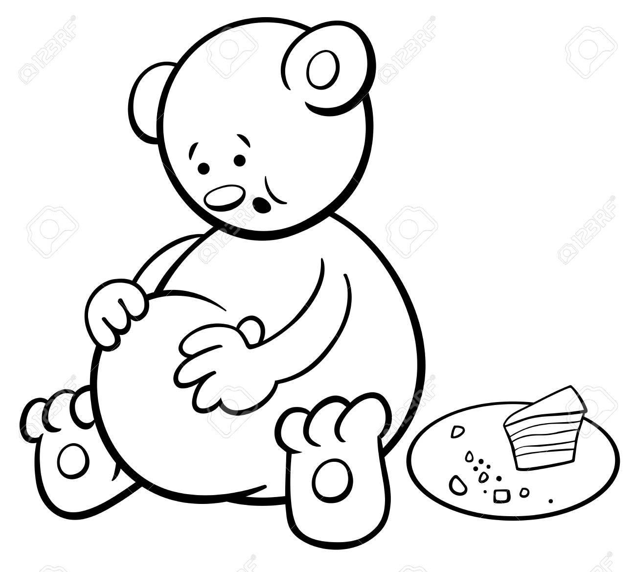 Schwarz-Weiß-Cartoon-Illustration Von Little Bear Tier-Zeichen ...