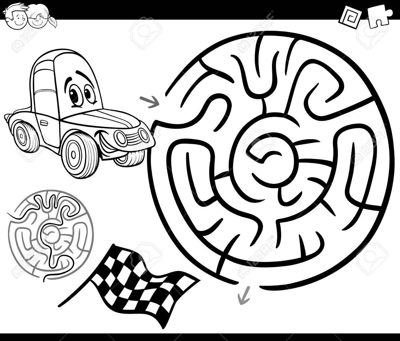 Ilustración De Dibujos Animados En Blanco Y Negro Del Laberinto De ...