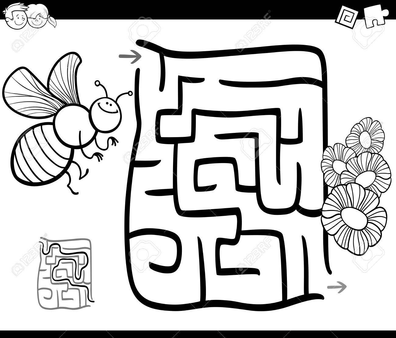 Illustration De Dessin Animé Noir Et Blanc Du Labyrinthe De Léducation Ou Jeu De Labyrinthe Pour Les Enfants Avec Des Abeilles Et Des Fleurs