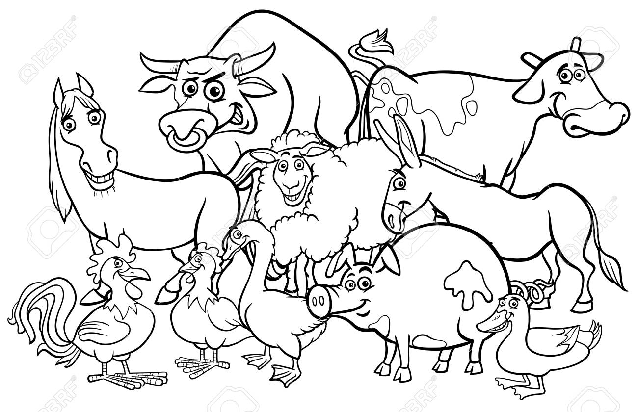 Black and White Cartoon Illustration of Comic Farm Animal Characters..