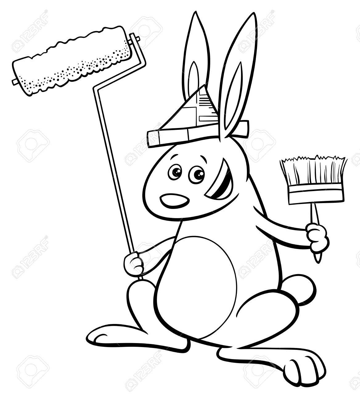 black and white cartoon illustration of rabbit painter fantasy animal character coloring book stock vector