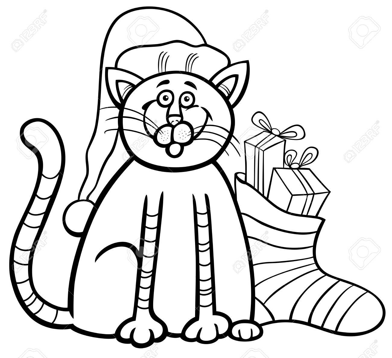 猫や子猫の動物キャラクターと塗り絵のプレゼントとクリスマス靴下の黒と