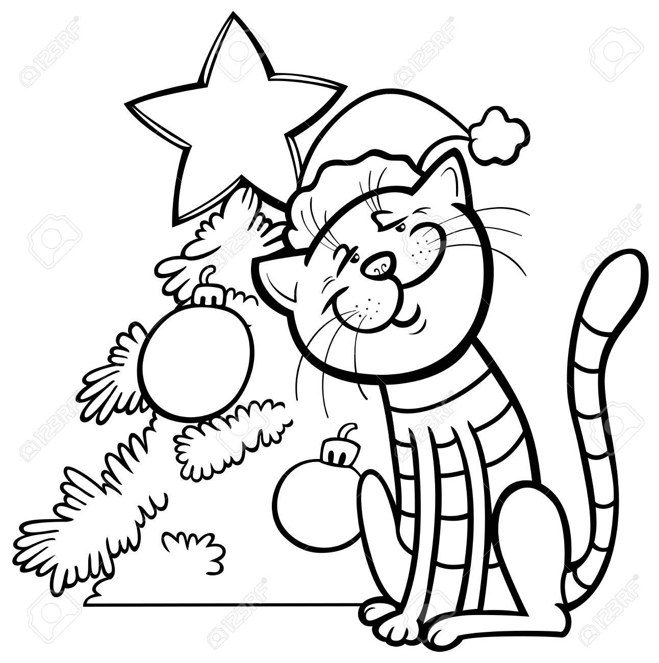 Black And White Cartoon Illustration Of Cat Animal Character ...