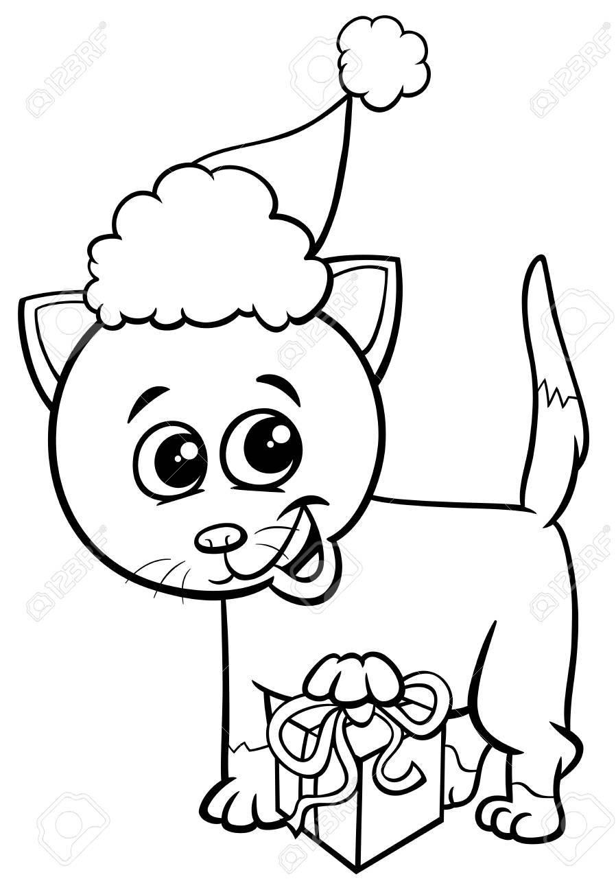 子猫動物キャラクター塗り絵クリスマスの時期に現在の黒と白の漫画