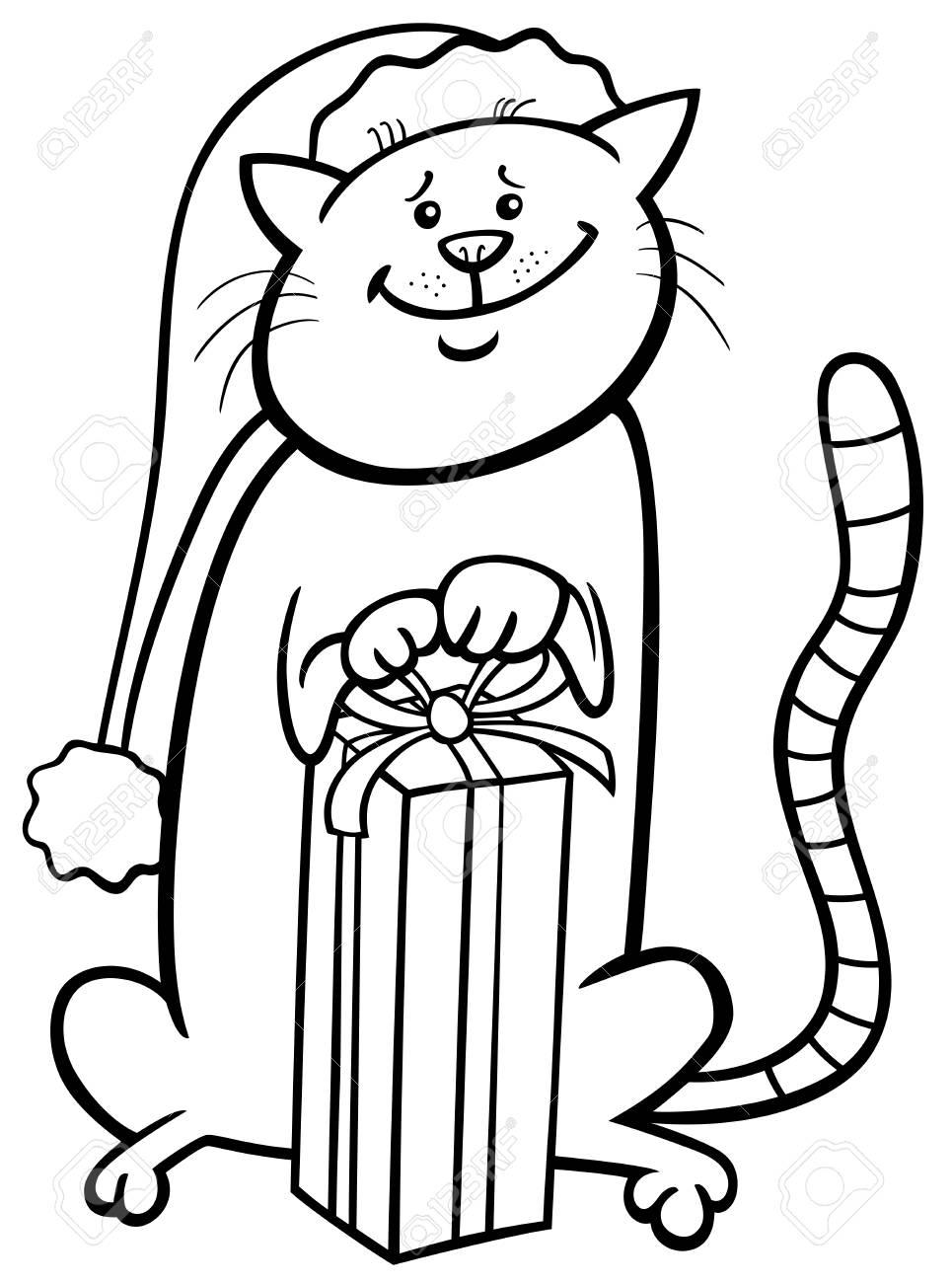 Ilustración De Dibujos Animados En Blanco Y Negro De Gato O Gatito ...