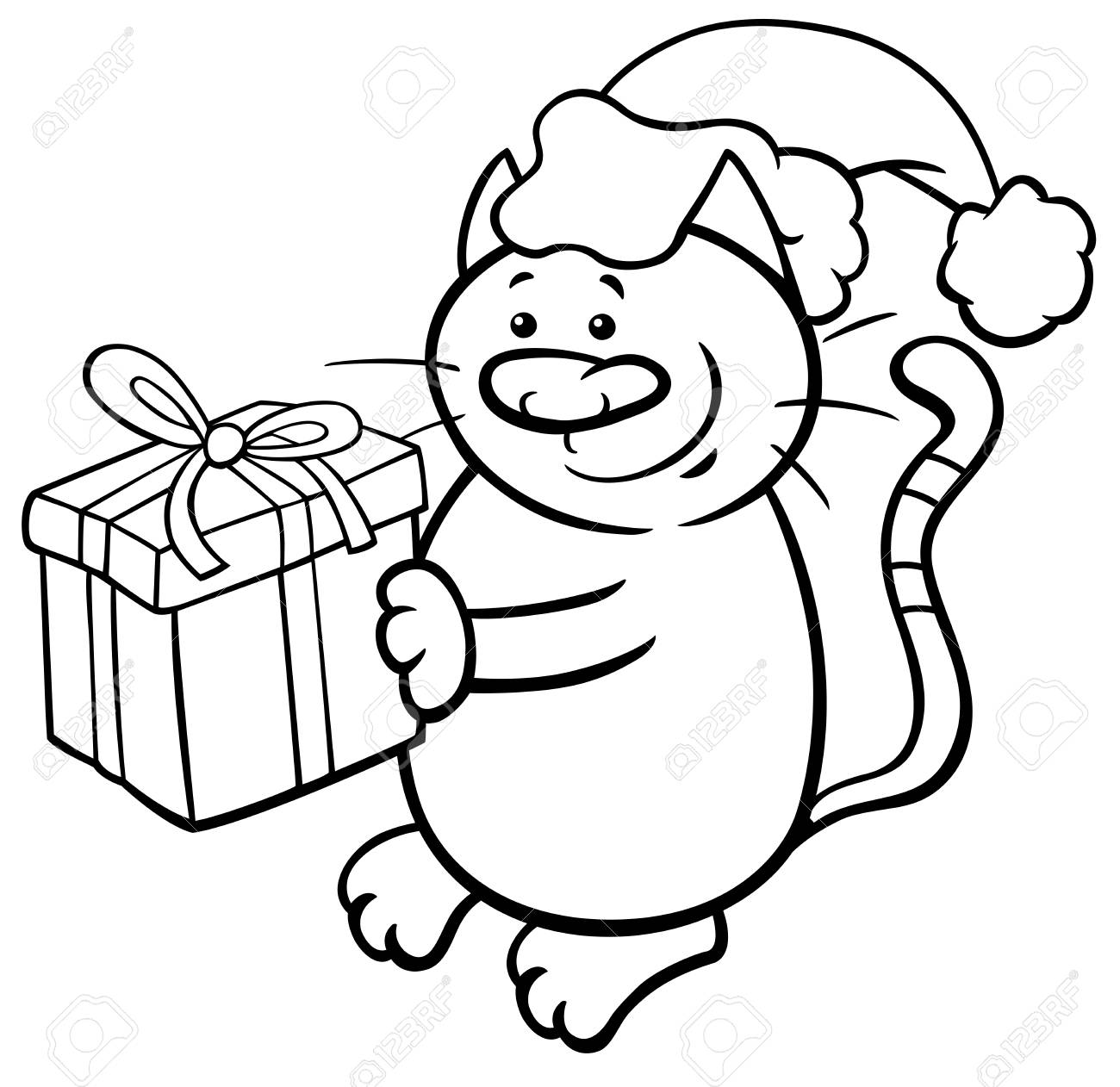 Coloriage Chat Cadeau.Illustration De Dessin Anime Noir Et Blanc De Caractere Animal Chat Ou Chaton Avec Livre De Coloriage De Cadeau De Noel