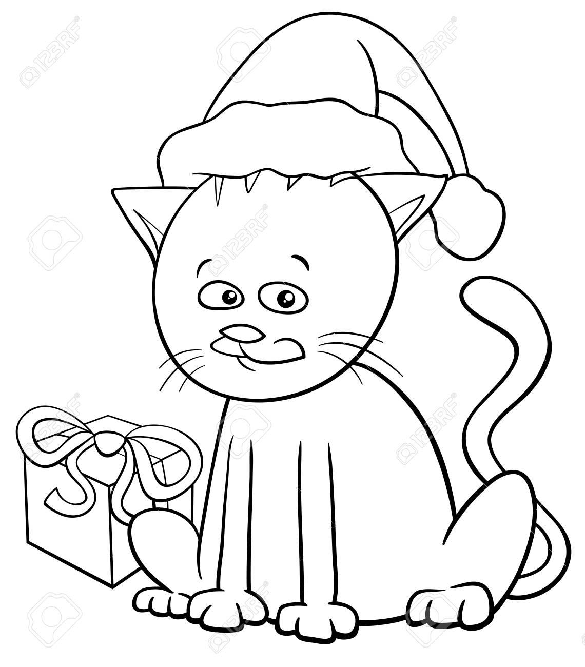 Ilustración De Dibujos Animados Blanco Y Negro De Gato O Gatito ...