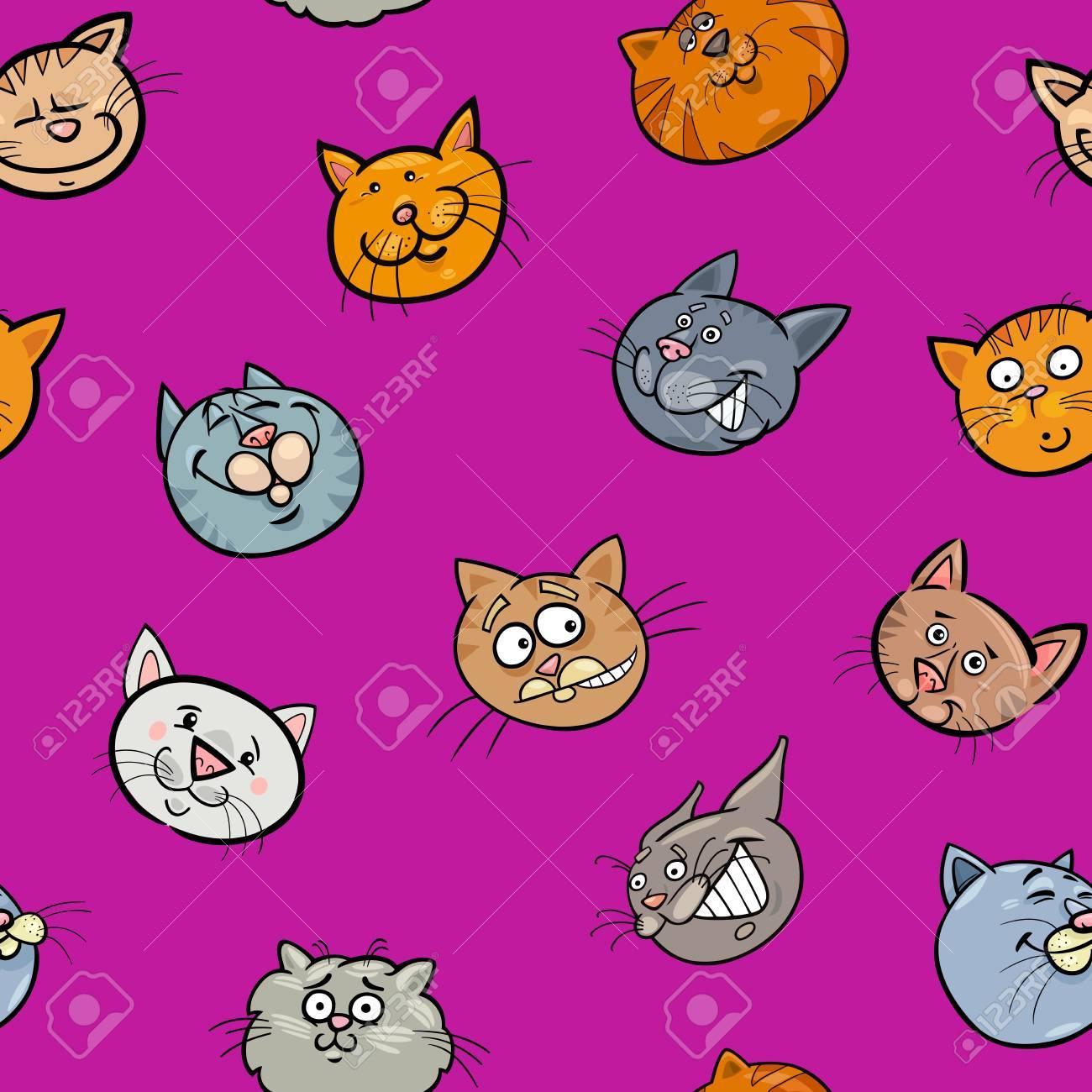 漫画イラストの猫のキャラクターの壁紙や包装紙のデザインのイラスト素材 ベクタ Image