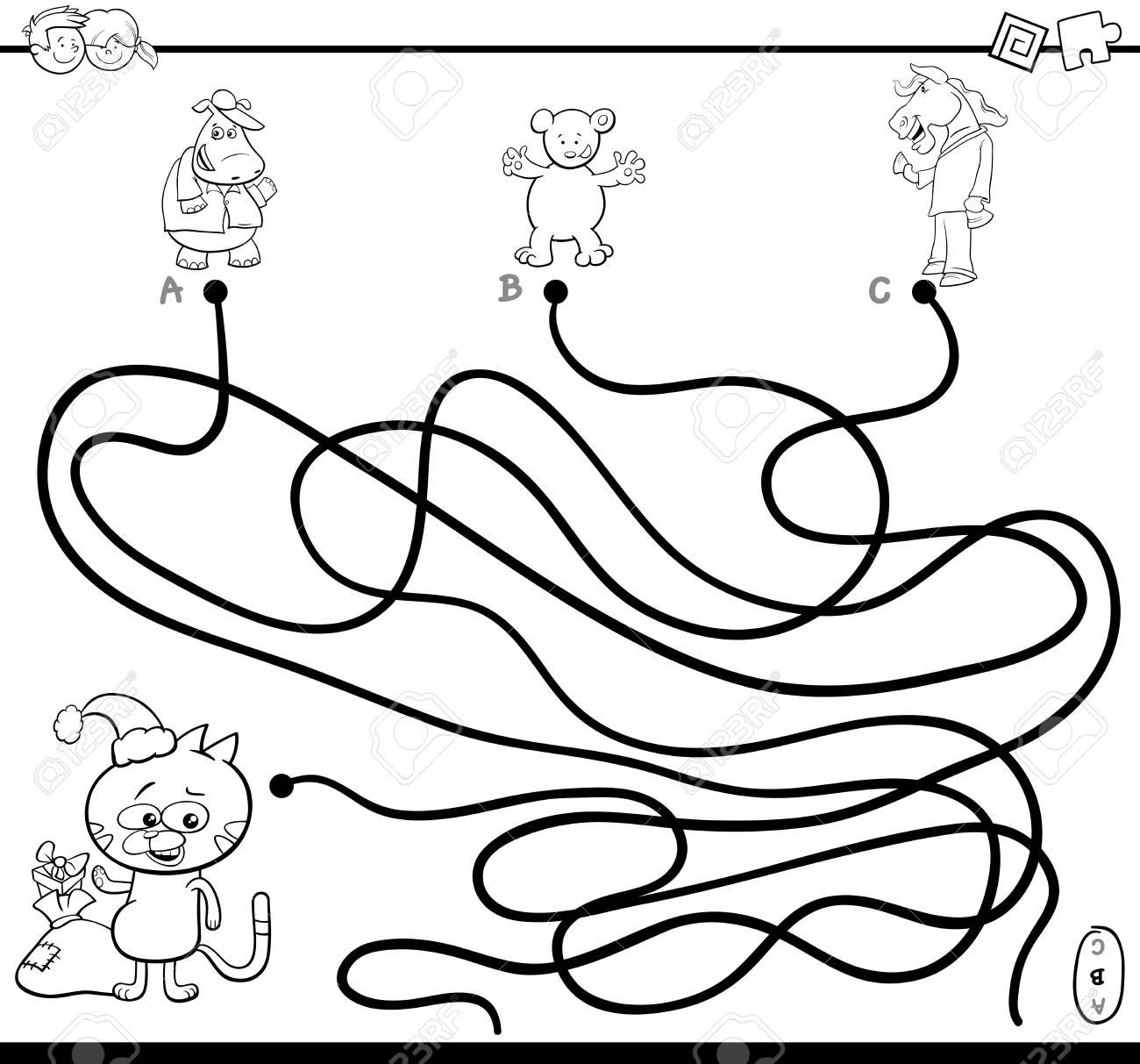 Ilustración De Dibujos Animados Blanco Y Negro De Senderos O Laberinto Juego De Actividad Rompecabezas Con Personajes De Animales En La Página Para