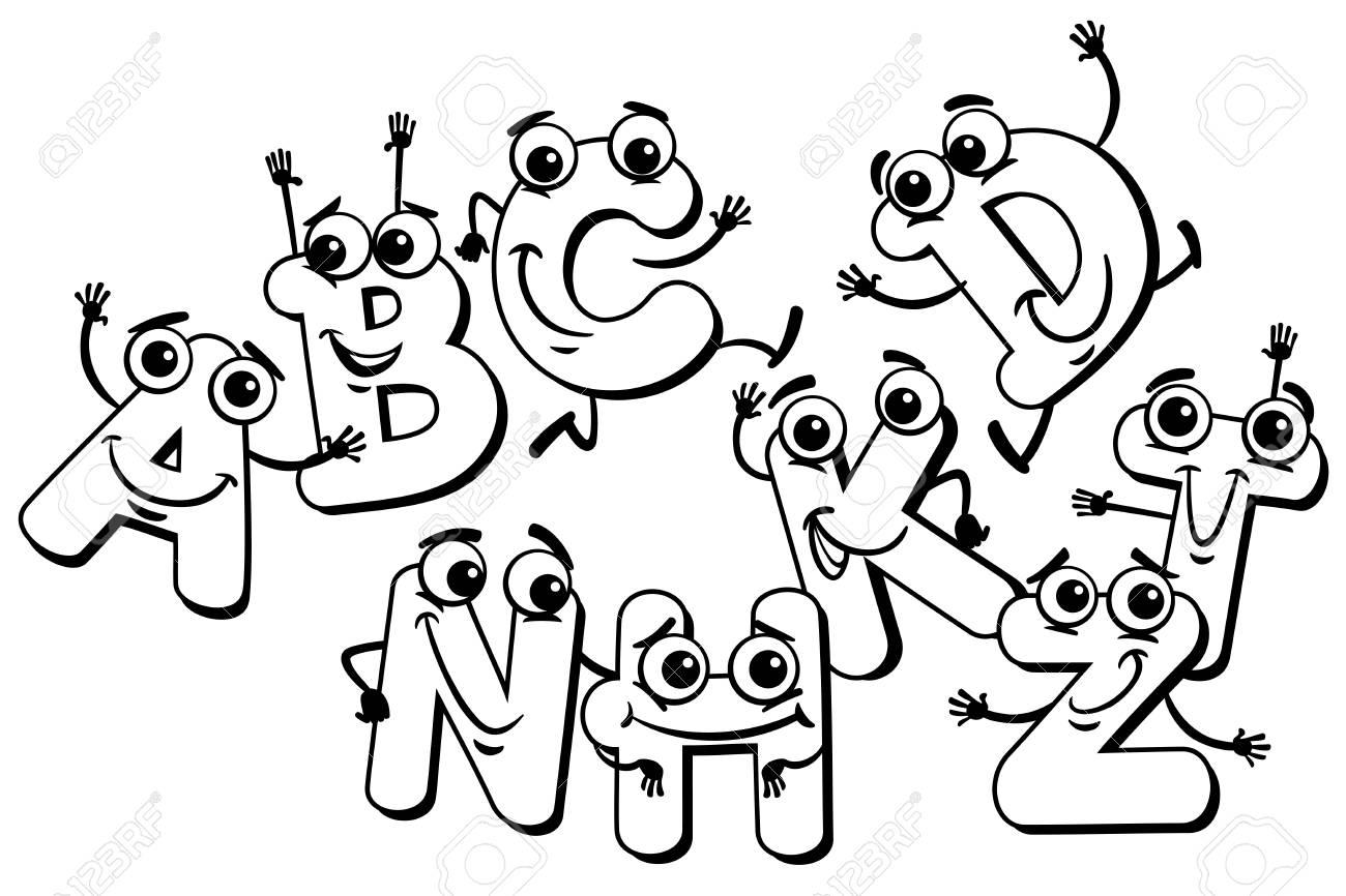 Illustration De Dessin Animé Noir Et Blanc De Funny Lettre Majuscule Caractères Groupe De L Alphabet Pour Enfants éducation Coloring Book