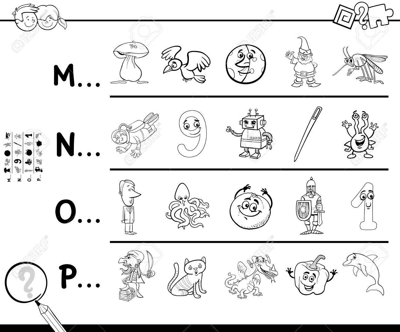 Ilustración De Dibujos Animados En Blanco Y Negro De La Búsqueda De Imágenes A Partir De La Carta De Referencia De Juegos Educativos Para Niños Libro