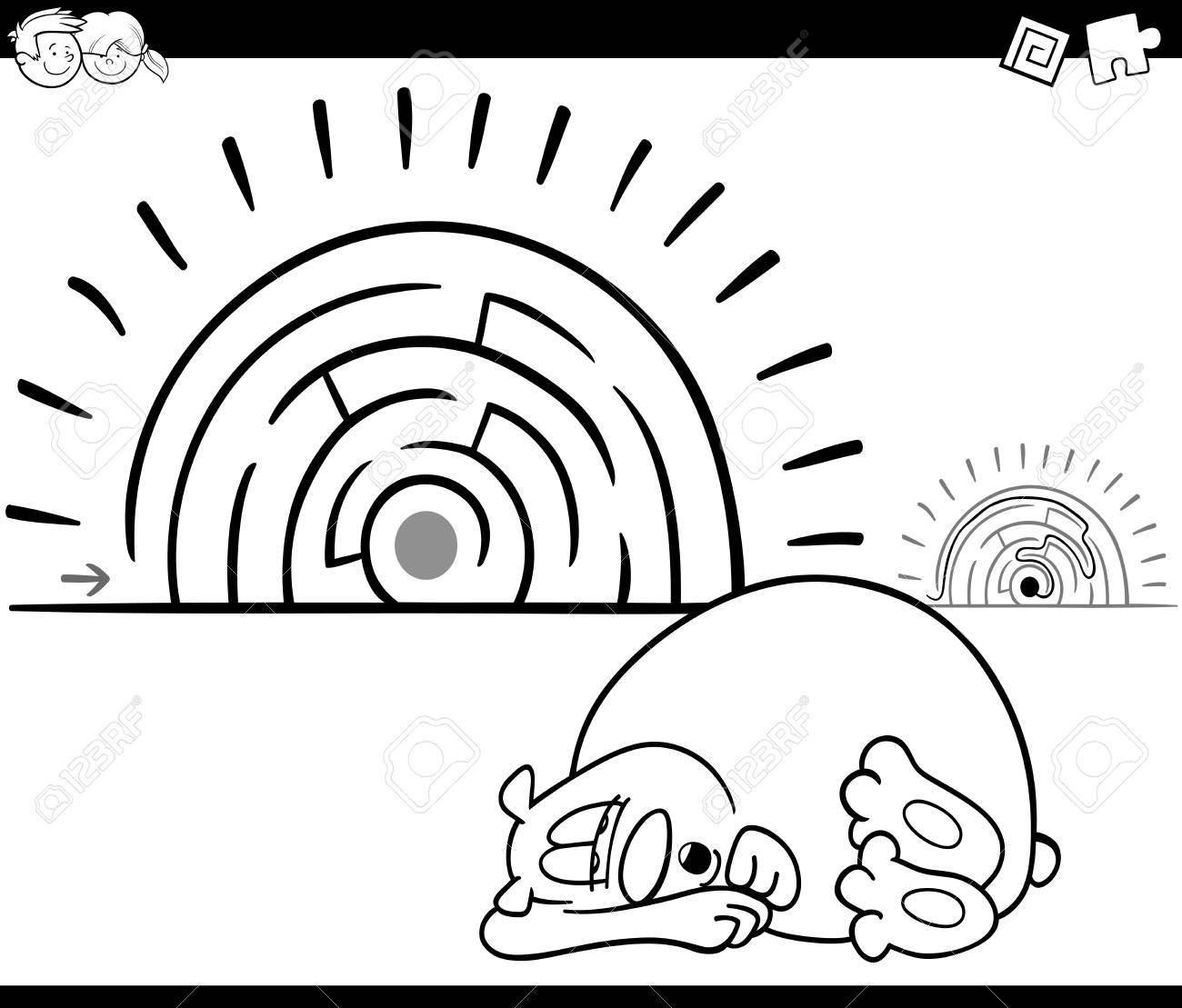 Black And White Cartoon Illustration Of Education Maze Or Labyrinth ...