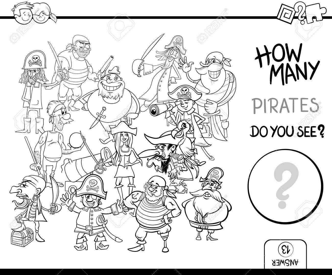 Schwarz-Weiß-Cartoon Illustration Der Pädagogischen Zählen Aktivität ...