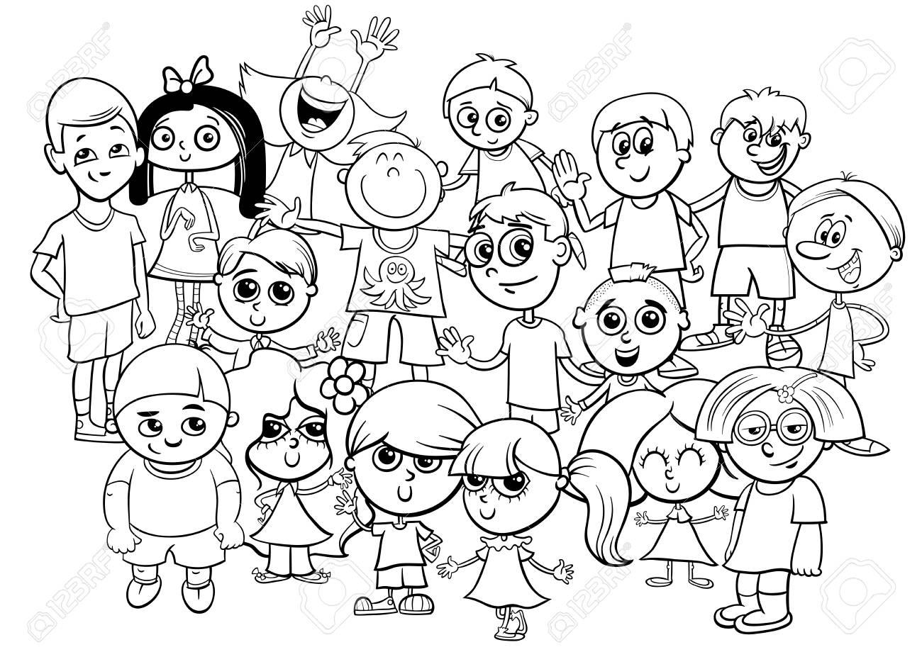 Ilustración De Dibujos Animados En Blanco Y Negro De Niños De Edad ...