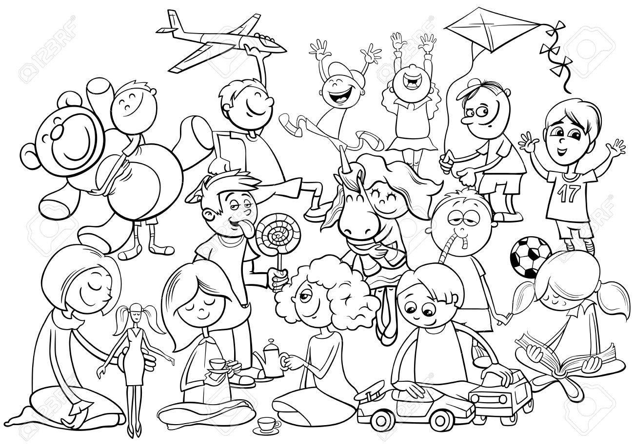 Ilustracion De Dibujos Animados En Blanco Y Negro De Los Ninos Grupo